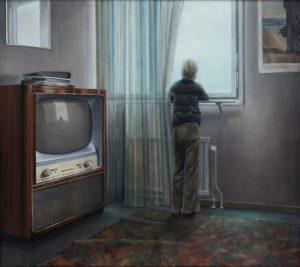 Peter Tillbergs målning Jonas och TV:n, 1972-76, foto: Mats Arvidsson